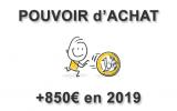 Pouvoir d'achat : une hausse théorique de 850€ par ménage en 2019