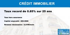 Crédit immobilier : nouveau record de faiblesse, 0.85% sur 25 ans pour un crédit de 200.000€
