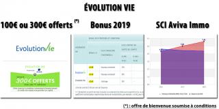 Assurance-vie Évolution Vie (Aviva), 3 bons plans en 1 : prime jusqu'à 300€, bonus de rendement 2019 et SCI