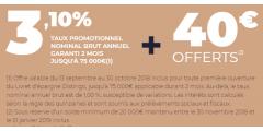 DERNIERS JOURS : Taux de 3.10% sur le livret épargne DISTINGO de PSA Banque et 40€ offerts, à saisir avant le 30 octobre 2018