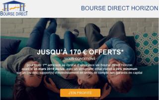Assurance-Vie Bourse Direct Horizon : jusqu'à 170€ offerts à saisir avant le 31 mars 2019, sous conditions