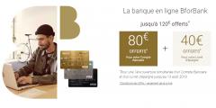 Compte bancaire BforBank : 120€ offerts jusqu'au 13 août 2019