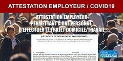 Attestation employeur / Justificatif de déplacement professionnel COVID19