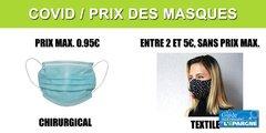 Prix des masques : la TVA baisse seulement ce jour à 5.50% sur fond de polémique sur la hausse de son prix maxi. (+950%)