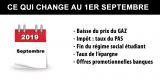 Impôt, gaz, régime étudiant, taux épargne, offres bancaires : tout ce qui change au 1er septembre 2019