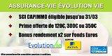Assurance-Vie Évolution Vie : Primes, bonus, et fenêtre de souscription de la SCI CAPIMMO
