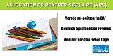 Allocation de Rentrée Scolaire 2020 (ARS) augmentée de 100 euros exceptionnellement