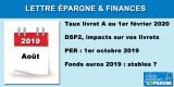 Août 2019 - Lettre épargne et finances personnelles
