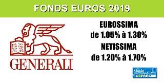 Assurance-vie, taux 2019 du fonds EUROSSIMA (Generali), de 1.05% à 1.20%, selon votre contrat