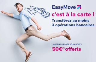 Boursorama : 50€ supplémentaires offerts pour toute première utilisation du service de changement de domiciliation bancaire EasyMove