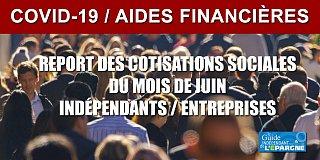 Crise Covid : report des cotisations sociales pour le mois de juin, possible, sous conditions
