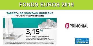 Assurance-Vie : Taux 2019 du fonds euros TARGET+ (Primonial) au-delà des 3% à 3.15%