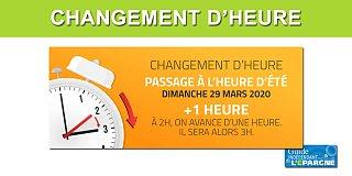 Changement d'heure, dimanche 29 mars à 2 heures du matin, ajout d'une heure.