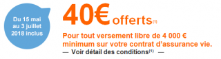 Assurance-Vie ING Direct Vie : 40€ offerts aux clients actuels, en cas d'un versement libre de 4.000€, valable jusqu'au 3 juillet 2018