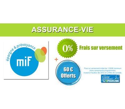 Assurance-vie MIF : 60€ offerts pour 1.000 euros versés, à saisir avant le 14 septembre 2020