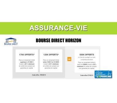 Assurance-Vie Bourse Direct Horizon : offre anniversaire, jusqu'à 170€ de prime ou 500€ de frais de courtage offerts