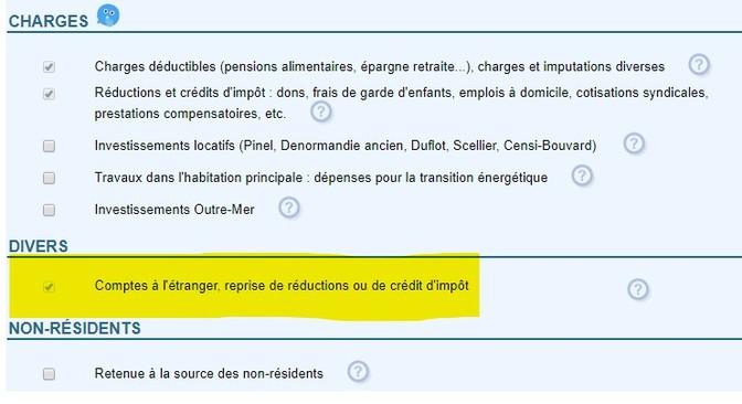 Copie écran déclaration revenus en ligne étape 3